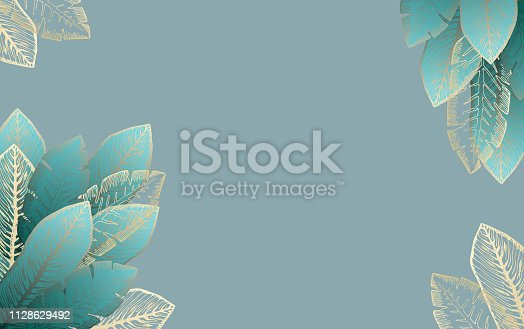 Pale blue rectangular background with bright turquoise and golden tropical leaves. Summer exotic leaf frame for birthday greeting cards, banner design, wedding decoration