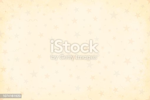 istock Pale grunge beige yellowed Vector Illustration of a starry party background in Vintage colors, beige, pale blue and dull red party and celebration elements like swirls, stars, confetti 1074161520