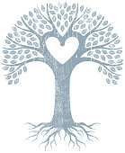 Pale grunge graphic heart tree