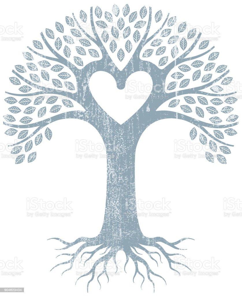Árbol de corazón gráfico grunge pálido - ilustración de arte vectorial