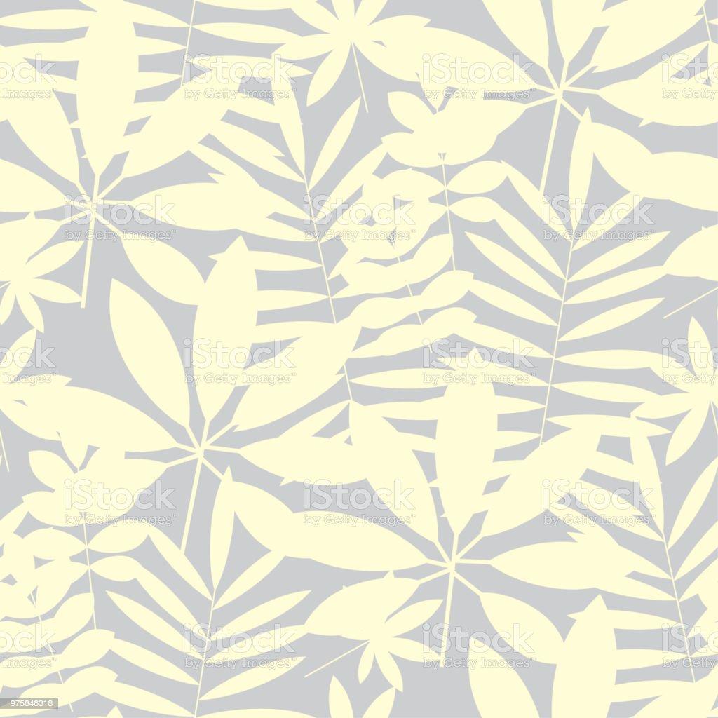 Blasse Farbe Elfenbein tropische Blätter nahtloses Muster - Lizenzfrei Abstrakt Vektorgrafik