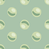 Pale seamless pattern with doodle green pearls shapes. Abstract ocean ornament on blue light background. Perfect for wallpaper, textile, wrapping paper, fabric print. Vector illustration.