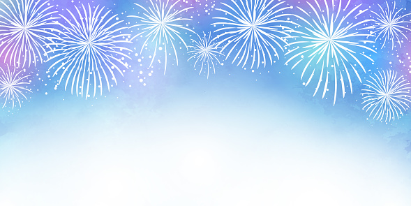 Pale watercolor fireworks vector illustration frame background (white background, copy space)