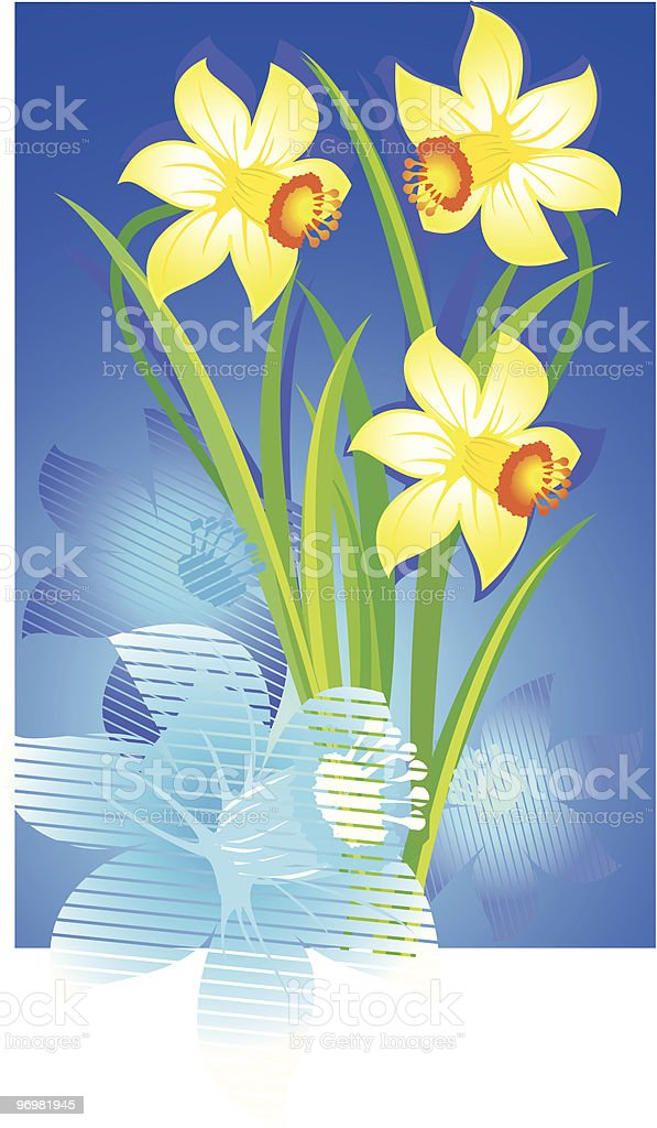 Pale yellow flowers lon a blue background royalty-free stock vector art