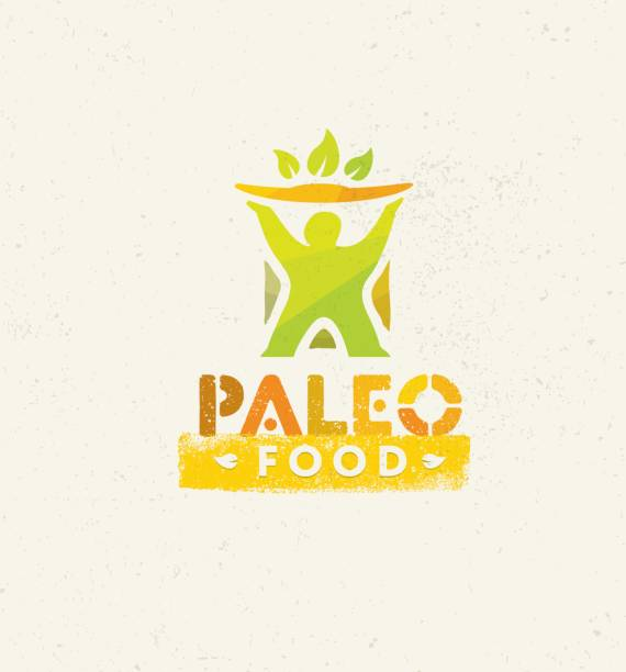 paleo food clean eating vector concept on organic background - paleo diet stock illustrations, clip art, cartoons, & icons