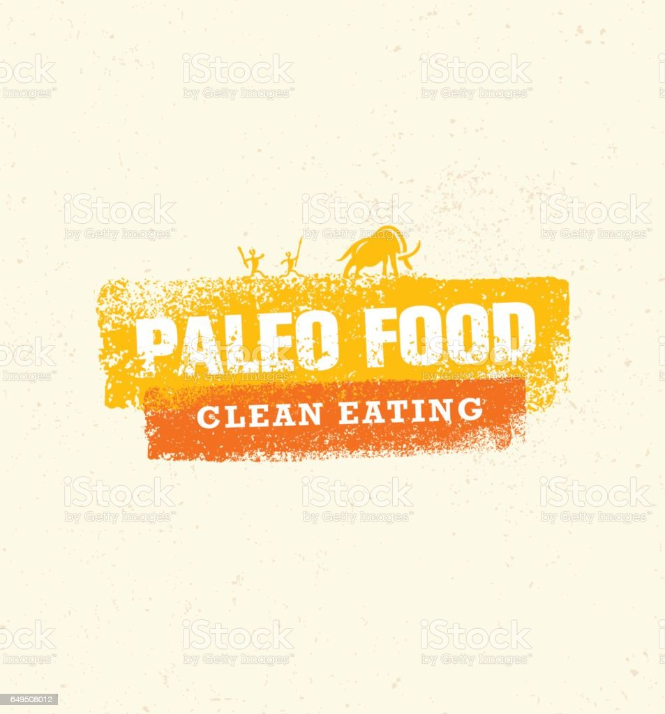 Paleo Food Clean Eating Vector Concept on Organic Background vector art illustration