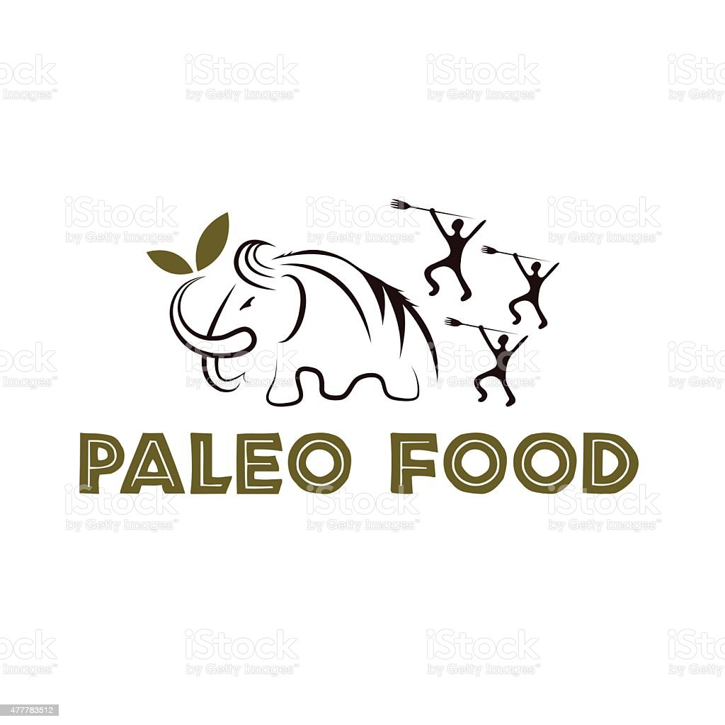 paleo food illustration with mammoth and cavemans vector art illustration