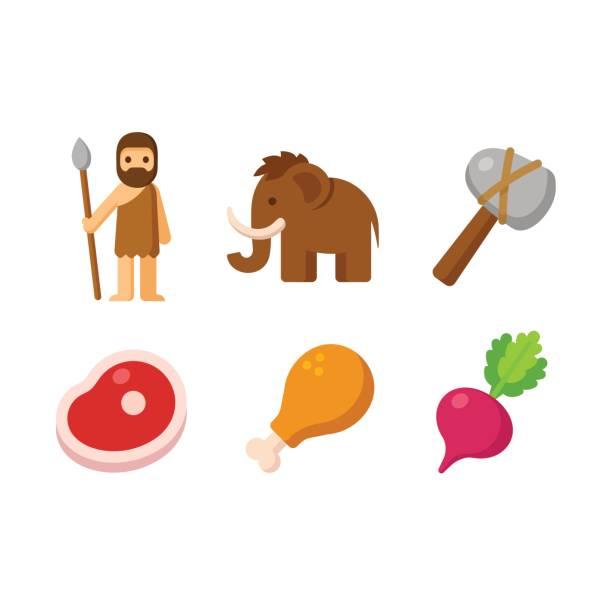 paleo icon set - paleo diet stock illustrations, clip art, cartoons, & icons