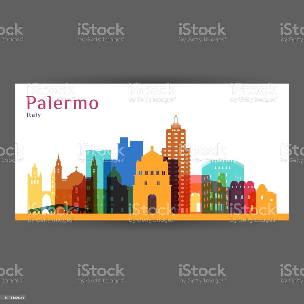 3a66011e259 Palermo stad het platform silhouet. Kleurrijke skyline. Stad plat design.  Vector visitekaartjes.