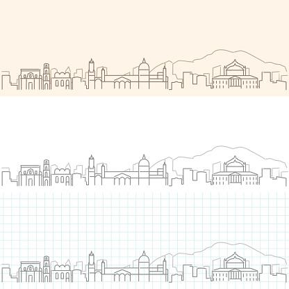 Palermo Hand Drawn Profile Skyline