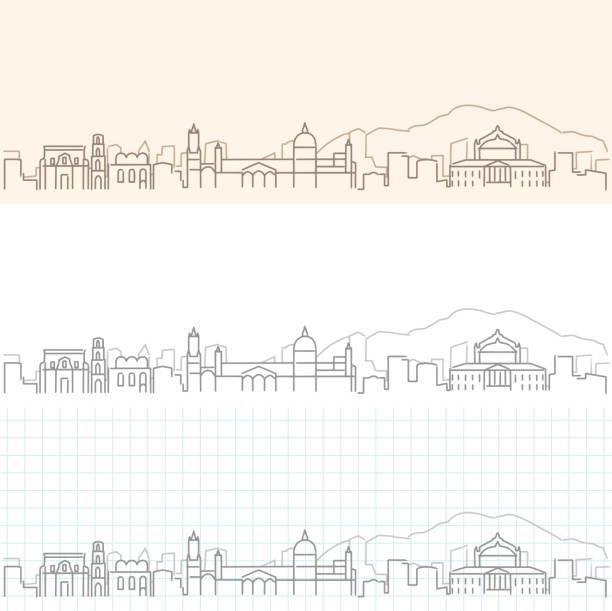 illustrazioni stock, clip art, cartoni animati e icone di tendenza di palermo hand drawn profile skyline - palermo città