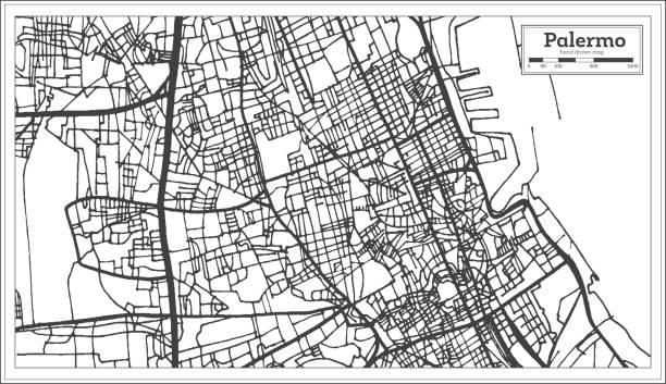illustrazioni stock, clip art, cartoni animati e icone di tendenza di palermo italy city map in retro style. outline map. - palermo città
