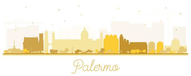 illustrazioni stock, clip art, cartoni animati e icone di tendenza di palermo italy city skyline silhouette with golden buildings isolated on white. - palermo città