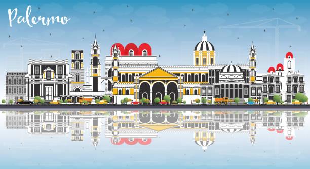 illustrazioni stock, clip art, cartoni animati e icone di tendenza di palermo italy city skyline with color buildings, blue sky and reflections. - palermo città
