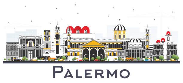illustrazioni stock, clip art, cartoni animati e icone di tendenza di palermo italy city skyline with color buildings isolated on white. - palermo città