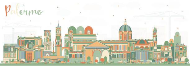 illustrazioni stock, clip art, cartoni animati e icone di tendenza di palermo italy city skyline with color buildings. vector illustration. - palermo città