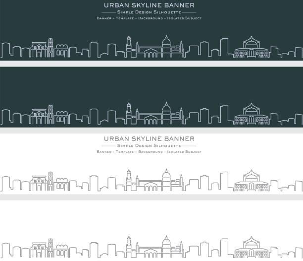 illustrazioni stock, clip art, cartoni animati e icone di tendenza di palermo single line skyline profile banner - palermo città