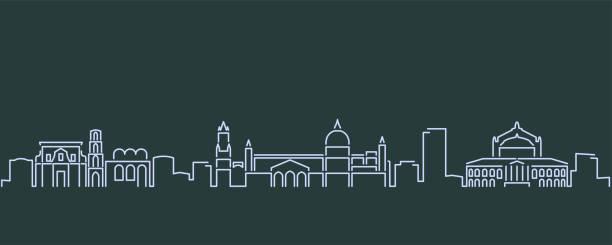 illustrazioni stock, clip art, cartoni animati e icone di tendenza di palermo single line skyline profile - palermo città