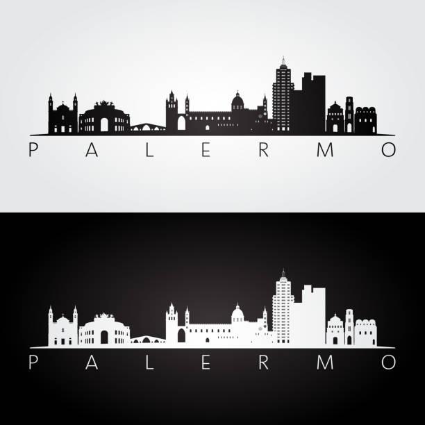 illustrazioni stock, clip art, cartoni animati e icone di tendenza di palermo skyline and landmarks silhouette, black and white design, vector illustration. - palermo città