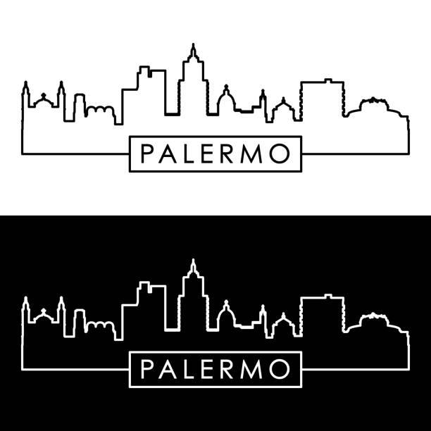 illustrazioni stock, clip art, cartoni animati e icone di tendenza di palermo skyline. linear style. editable vector file. - palermo città