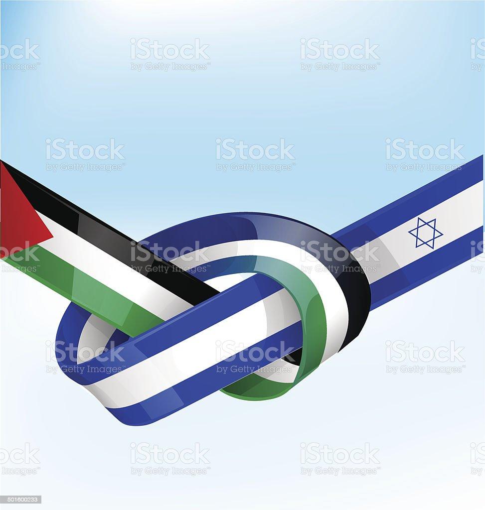 palestine and israel ribbon flag vector art illustration