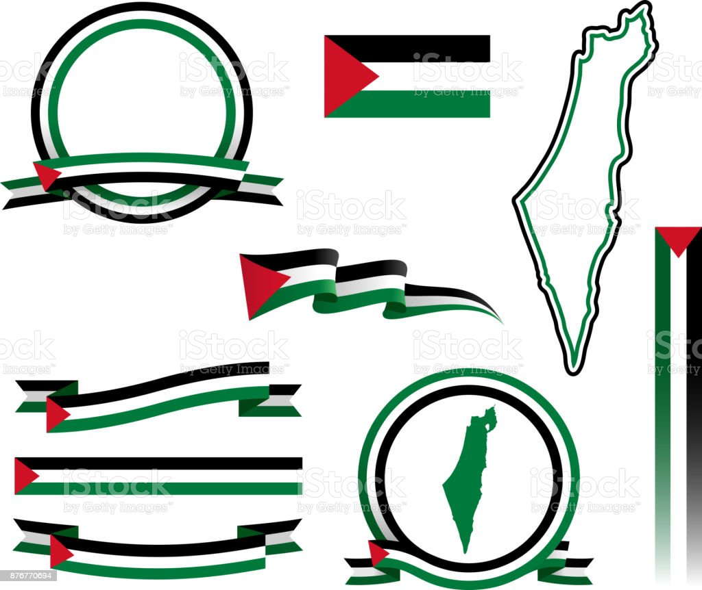 Palestine Banner Set vector art illustration