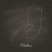 Palestine region map: hand drawn with white chalk on school blackboard texture.