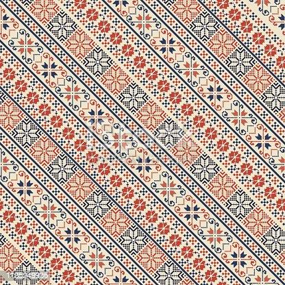 istock Palestinian embroidery pattern 1135249935
