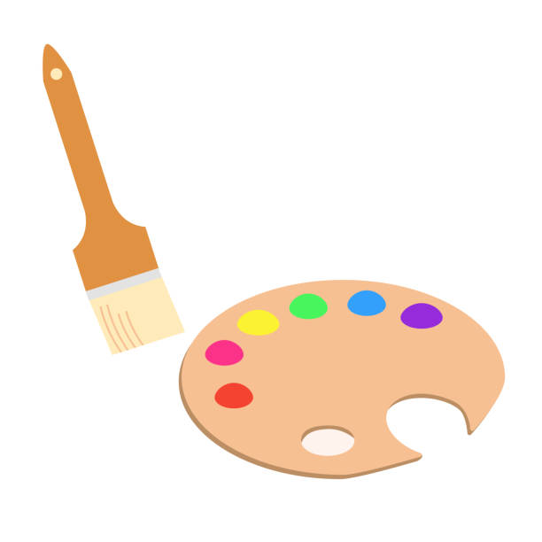 Palette and brush with paint vector art illustration