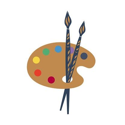 Palette icon, Art icon, vector illustration. Color palette and brush, artist icon flat design