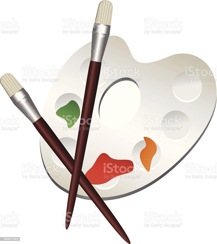 Palette with Brushes vector art illustration