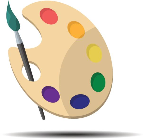 illustrazioni stock, clip art, cartoni animati e icone di tendenza di palette with paint brush - tavolozza