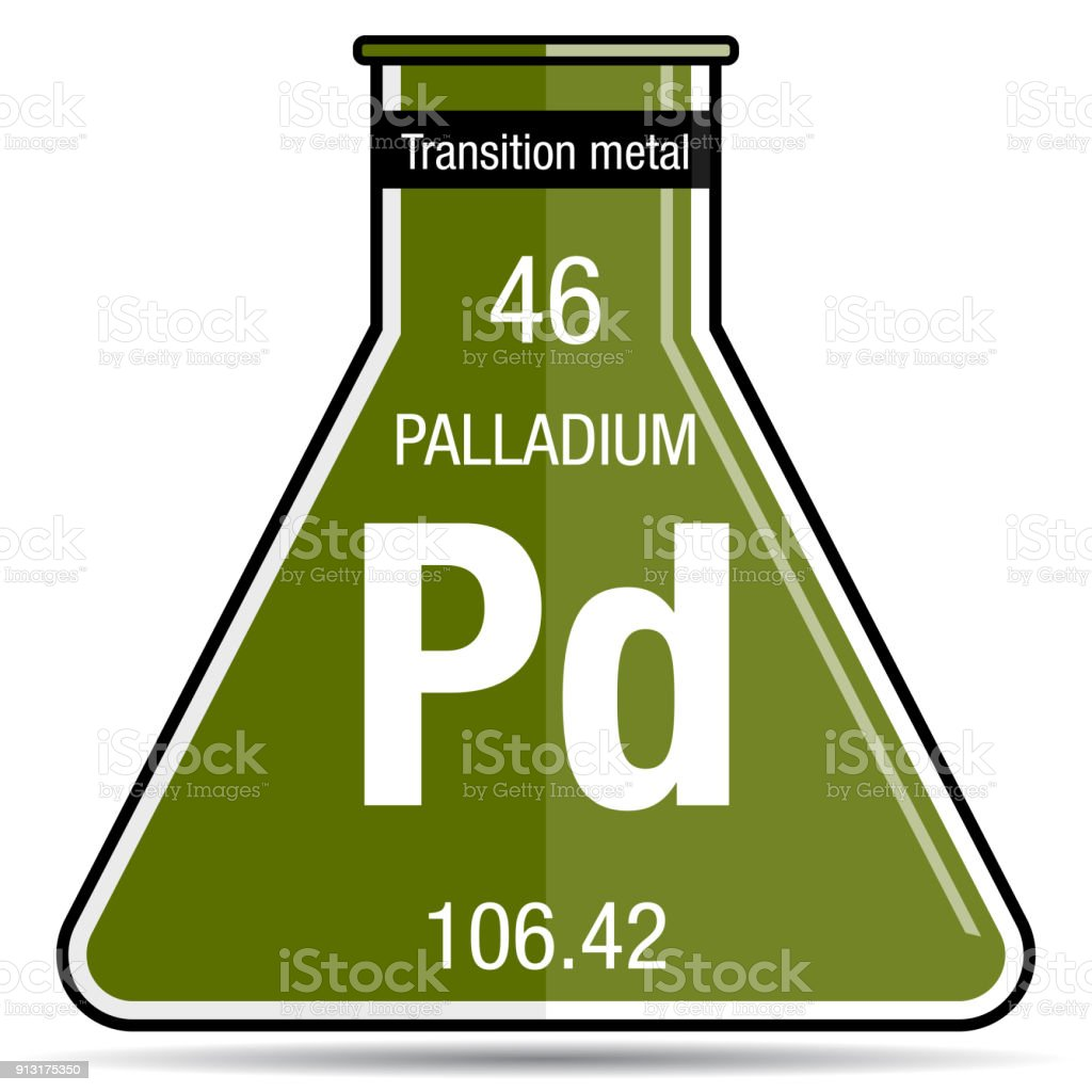 Palladium Symbol On Chemical Flask Element Number 46 Of The Periodic