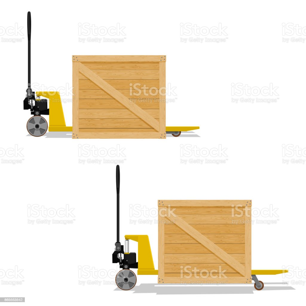 Pallet truck with wooden crate vector art illustration