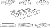 Standart Wooden Pallet Illustration. Various Angles. Perspective.