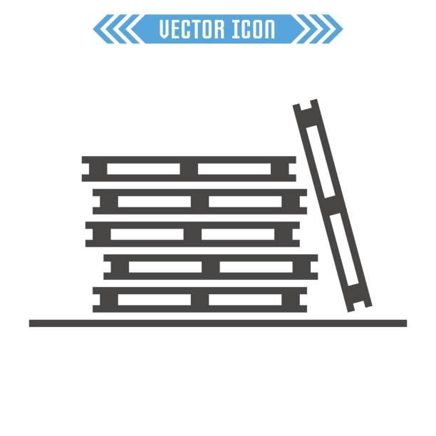 stockillustraties, clipart, cartoons en iconen met het pictogram van de pallets. vector teken symbool. geïsoleerd op een witte achtergrond. - pallet