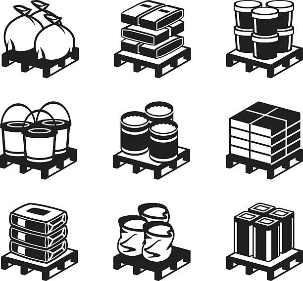 stockillustraties, clipart, cartoons en iconen met pallets with building materials - pallet