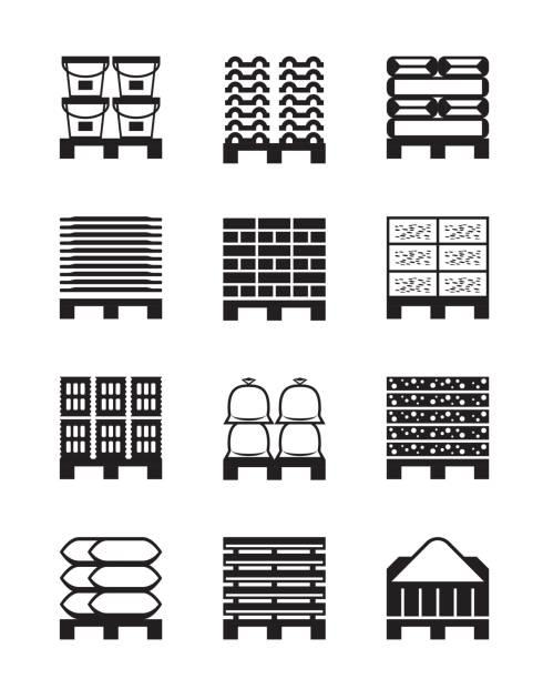 stockillustraties, clipart, cartoons en iconen met pallets met verschillende bouwmaterialen - pallet