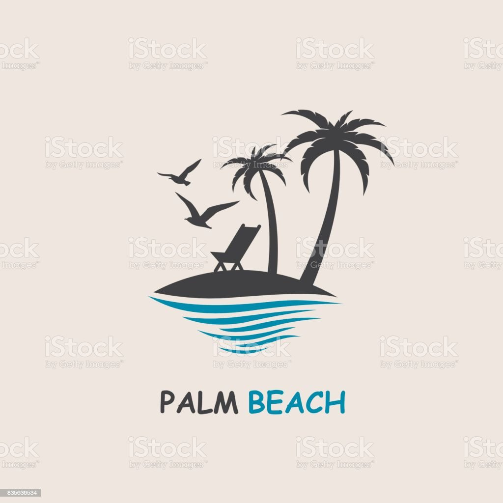 palm beach icon vector art illustration