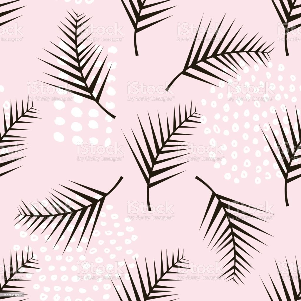 Palm branch trendy seamless pattern with hand drawn elements. Monstera leaf background. Great for fabric, textile Vector Illustration royalty-free palm branch trendy seamless pattern with hand drawn elements monstera leaf background great for fabric textile vector illustration stock vector art & more images of abstract