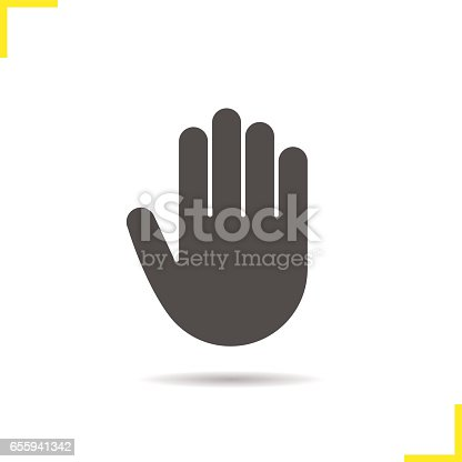 Palm drop shadow icon. Isolated vector illustration. Stop, greeting and high five hand gesture