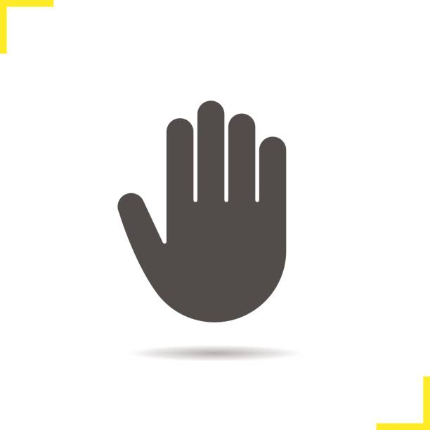 Palm icon Palm drop shadow icon. Isolated vector illustration. Stop, greeting and high five hand gesture stop stock illustrations