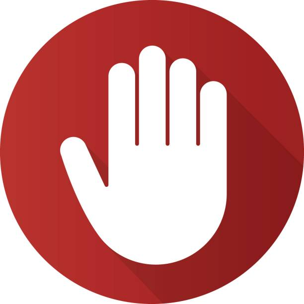 Palm icon Palm flat design vector icon. Stop, greeting and high five gesture stop stock illustrations