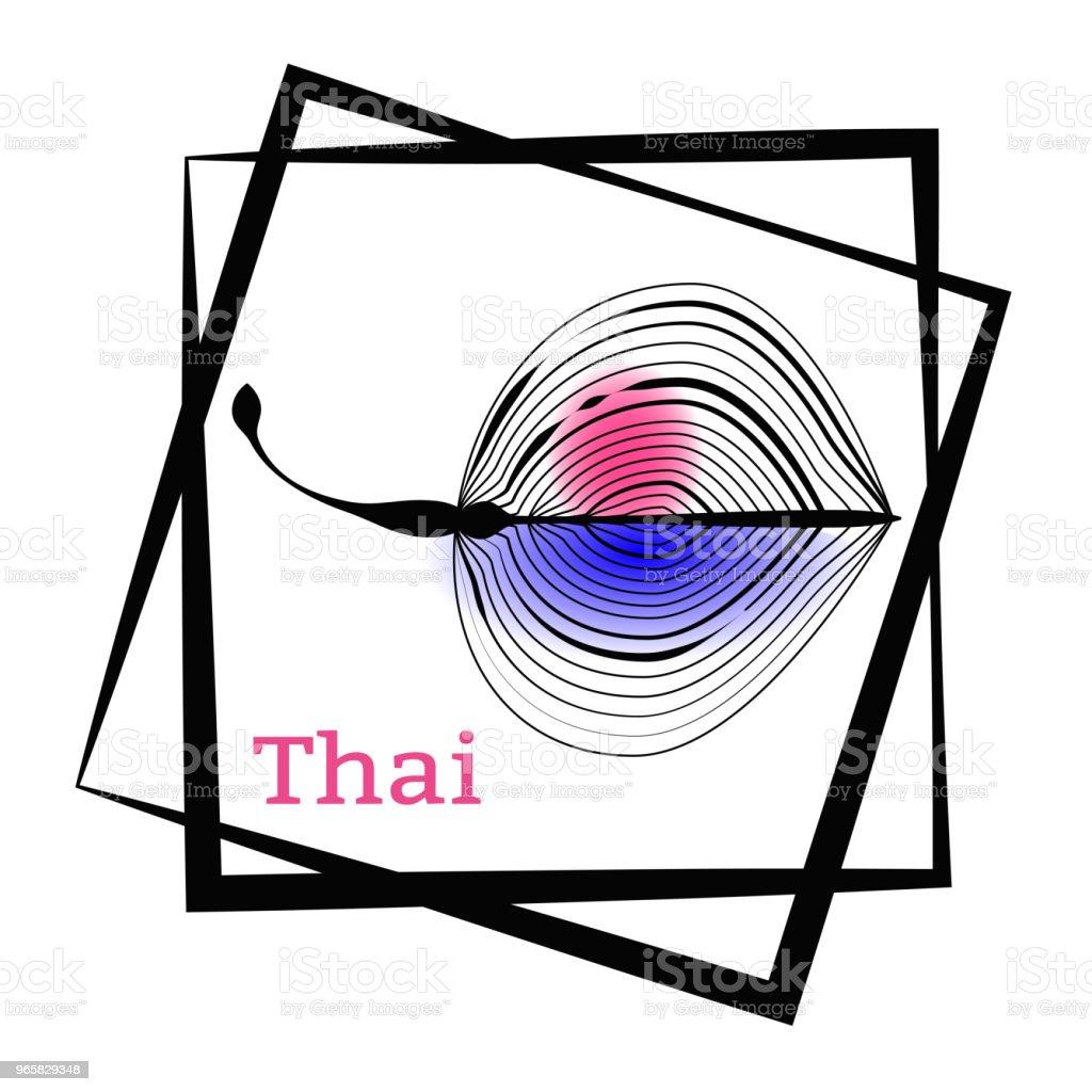 Palm blad en kalligrafie Thailand. Logo in het frame. Vector tekening voor het ontwerpen van kleding, posters, reizen bedrijven, kaarten, briefkaarten. - Royalty-free Blauw vectorkunst