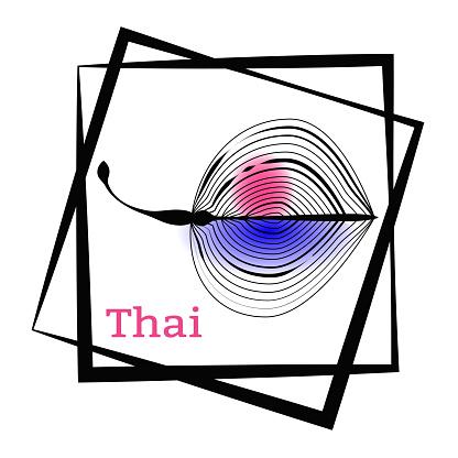 Palm Blad En Kalligrafie Thailand Logo In Het Frame Vector Tekening Voor Het Ontwerpen Van Kleding Posters Reizen Bedrijven Kaarten Briefkaarten Stockvectorkunst en meer beelden van Blauw