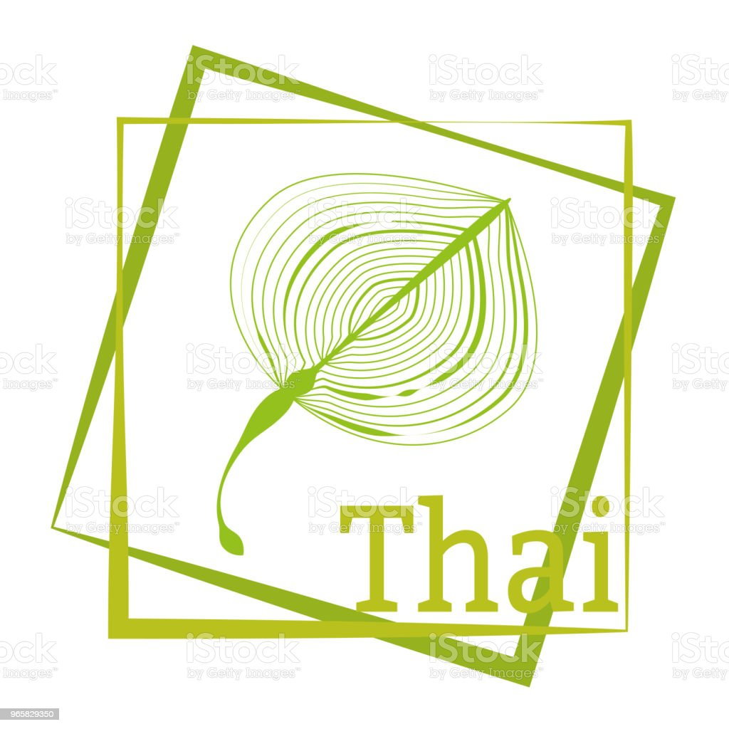Palm leaf and calligraphy Thailand. Logo in the frame. Vector drawing for the design of clothing, posters, travel companies, maps, postcards. - Royalty-free Abstrato arte vetorial