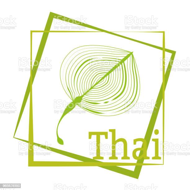 Palm Leaf And Calligraphy Thailand Logo In The Frame Vector Drawing For The Design Of Clothing Posters Travel Companies Maps Postcards - Arte vetorial de stock e mais imagens de Abstrato