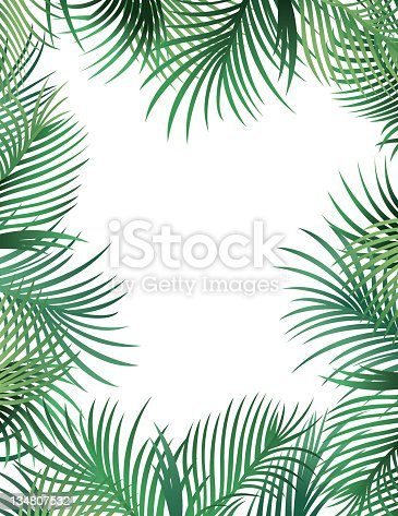 A border made up of palm leaves.