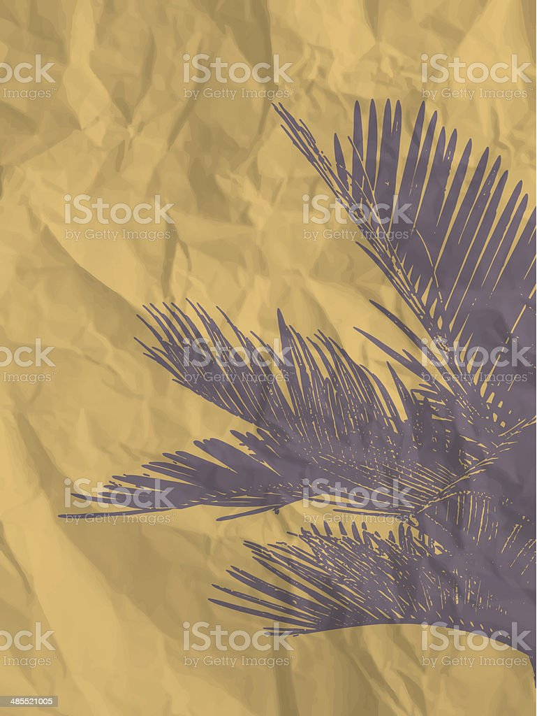 Palm leaf on yellow crumpled paper texture royalty-free stock vector art