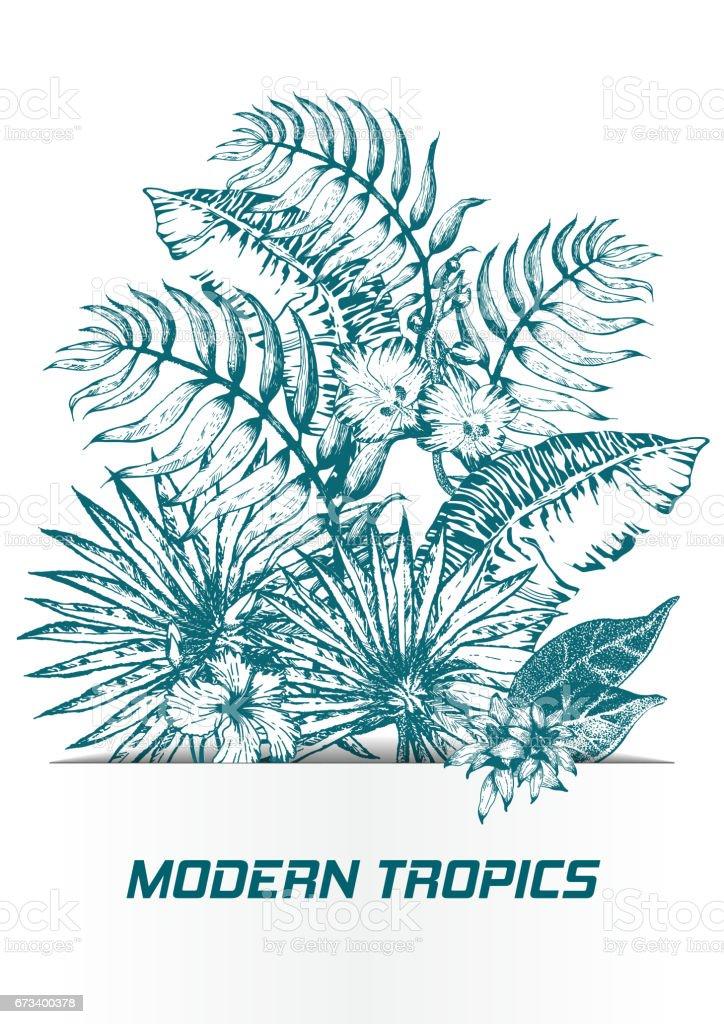 Palm Leaf Sketch11 vector art illustration